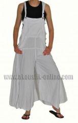 Pantalon salopette patte d'éph baba blanc 239805