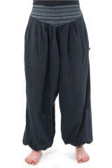Pantalon sarouel ceinture V ethnique noir à rayure Noire Bounette 303042
