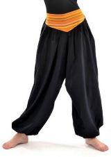 Pantalon sarouel ceinture V ethnique noir à rayure orange Bounette 303022