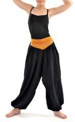 Pantalon sarouel ceinture V ethnique noir à rayure orange Bounette 303023