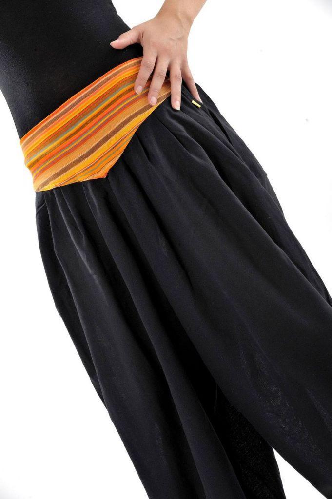 Pantalon sarouel ceinture V ethnique noir à rayure orange Bounette 303025