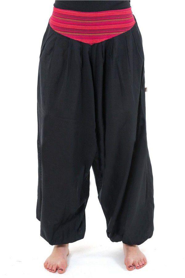 Pantalon sarouel ceinture V ethnique noir à rayure rouge Bounette 303026