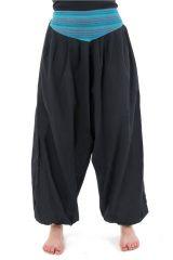 Pantalon sarouel ceinture V ethnique noir à rayure turquoise Bounette 303028