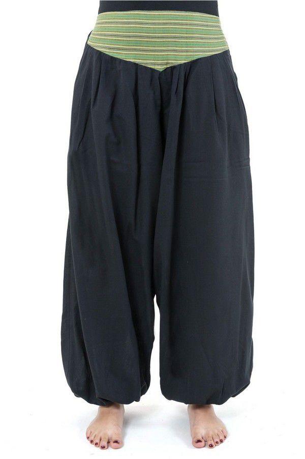 Pantalon sarouel ceinture V ethnique noir à rayure verte Bounette 303037