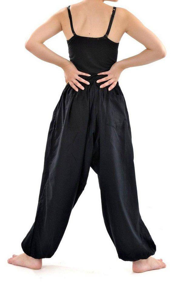 Pantalon sarouel ceinture V ethnique noir à rayure verte Bounette 303038
