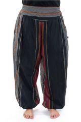 Pantalon Sarouel ceinture V tendance et imprimé rayé en coton Padam 303144