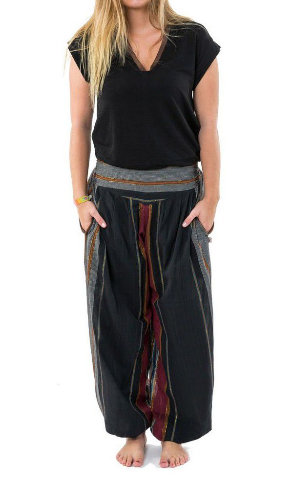 Pantalon Sarouel ceinture V tendance et imprimé rayé en coton Padam 303145