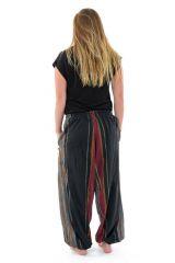 Pantalon Sarouel ceinture V tendance et imprimé rayé en coton Padam 303146