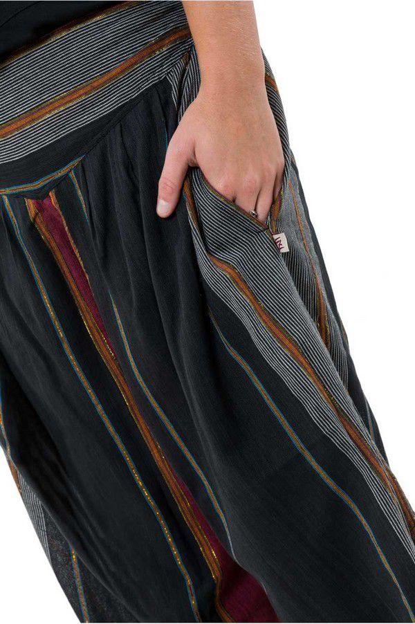 Pantalon Sarouel ceinture V tendance et imprimé rayé en coton Padam 303147