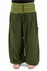 Pantalon sarouel en coton de couleur uni vert Greenee 302909