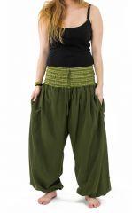 Pantalon sarouel en coton de couleur uni vert Greenee 302910