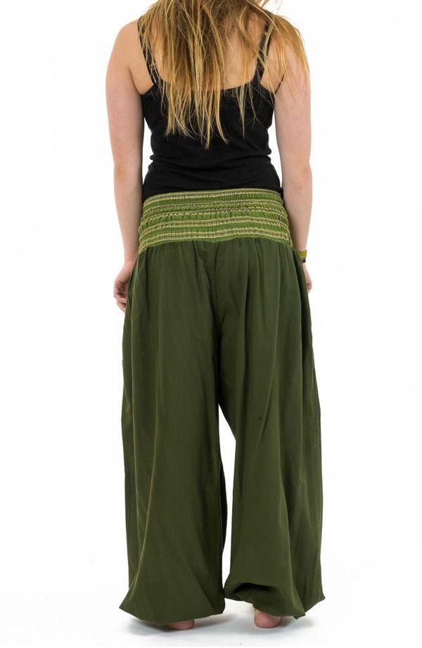 Pantalon sarouel en coton de couleur uni vert Greenee 302911