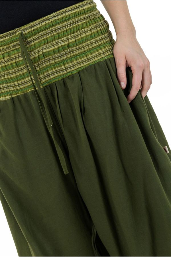 Pantalon sarouel en coton de couleur uni vert Greenee 302912
