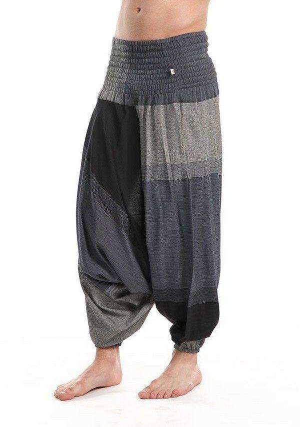 Pantalon sarouel homme basique et ethnique de couleur noir et gris Shangay
