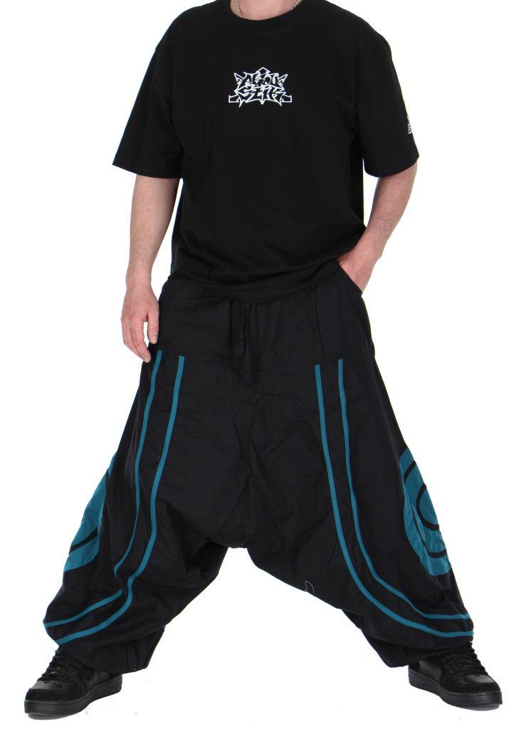 Pantalon sarouel homme soane noir et bleu 260990