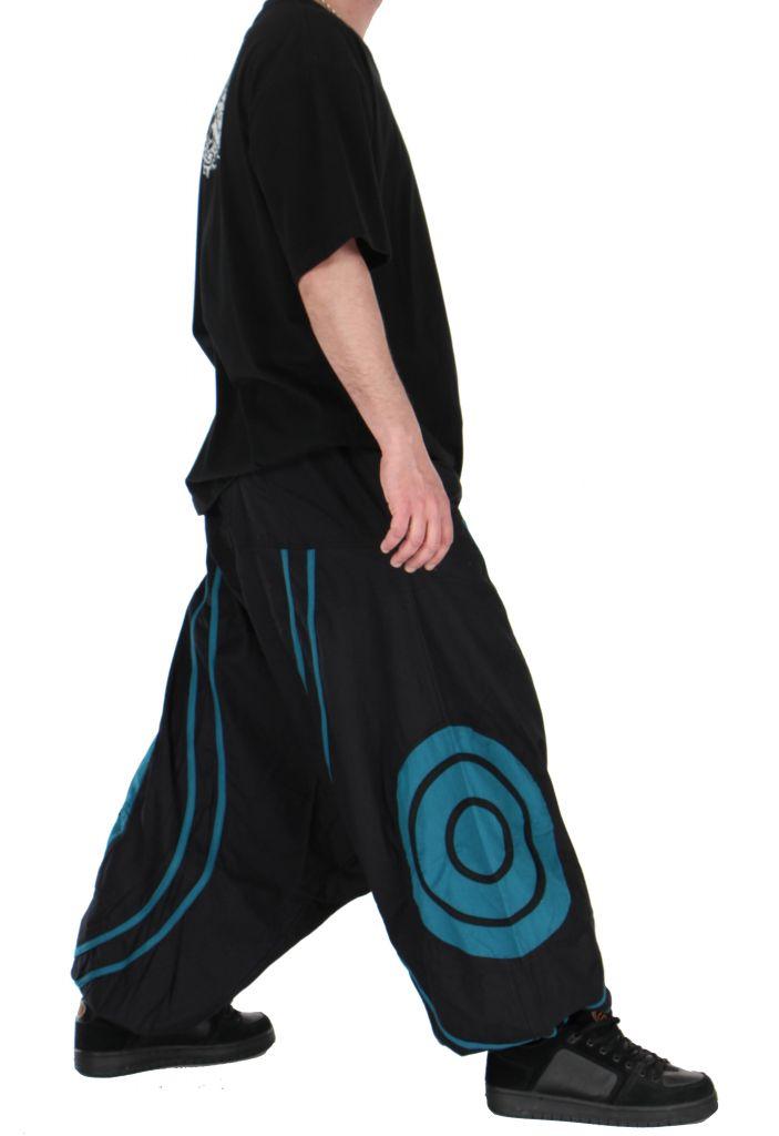 Pantalon sarouel homme soane noir et bleu 260991