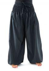 Pantalon sarouel large noir femme ceinture élastiquée Kiji 304732