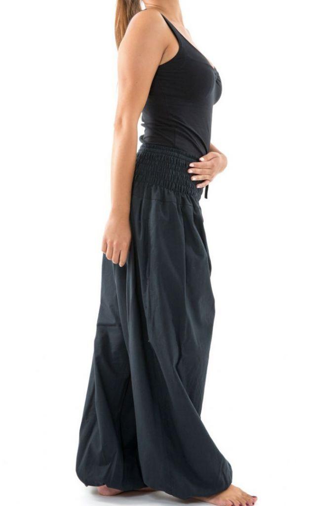 Pantalon sarouel large noir femme ceinture élastiquée Kiji 304733