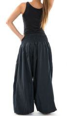 Pantalon sarouel large noir femme ceinture élastiquée Kiji 304734