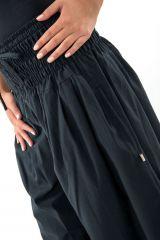 Pantalon sarouel large noir femme ceinture élastiquée Kiji 304735