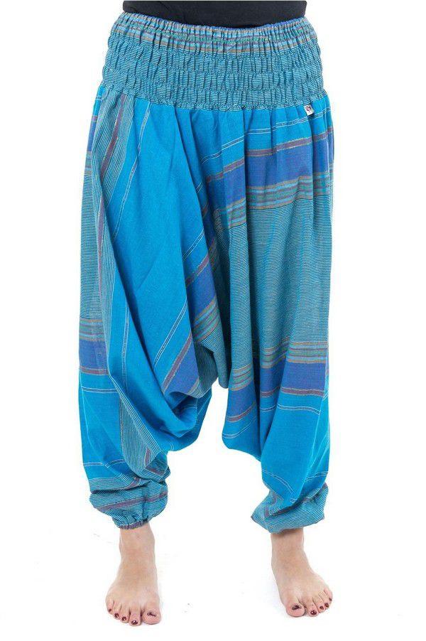 Pantalon sarouel tendance ethnique coloré brillant bleu Aladiib 302946