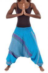 Pantalon sarouel tendance ethnique coloré brillant bleu Aladiib 302947