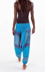 Pantalon sarouel tendance ethnique coloré brillant bleu Aladiib 302948