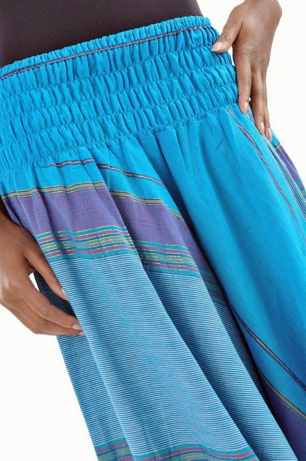 Pantalon sarouel tendance ethnique coloré brillant bleu Aladiib 302949