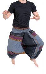 Pantalon sarouel tendance ethnique coloré brillant noir Aladiib 302955