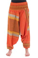 Pantalon sarouel tendance ethnique coloré brillant orange Aladiib 302943