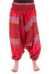 Pantalon sarouel tendance ethnique coloré brillant rouge Aladiib 302962