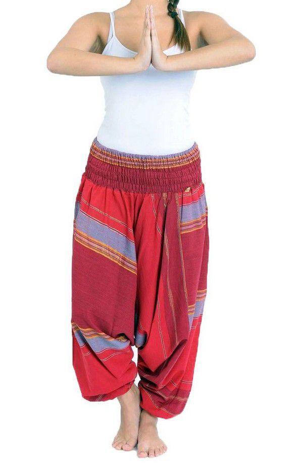 Pantalon sarouel tendance ethnique coloré brillant rouge Aladiib 302963