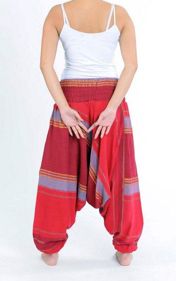 Pantalon sarouel tendance ethnique coloré brillant rouge Aladiib 302964