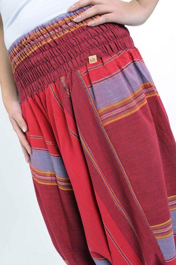 Pantalon sarouel tendance ethnique coloré brillant rouge Aladiib 302965