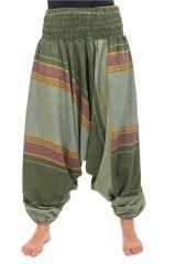 Pantalon sarouel tendance ethnique coloré brillant vert Aladiib 302966