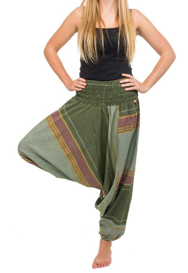 Pantalon sarouel tendance ethnique coloré brillant vert Aladiib 302967