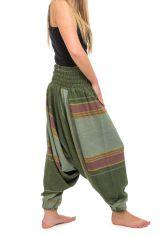 Pantalon sarouel tendance ethnique coloré brillant vert Aladiib 302968