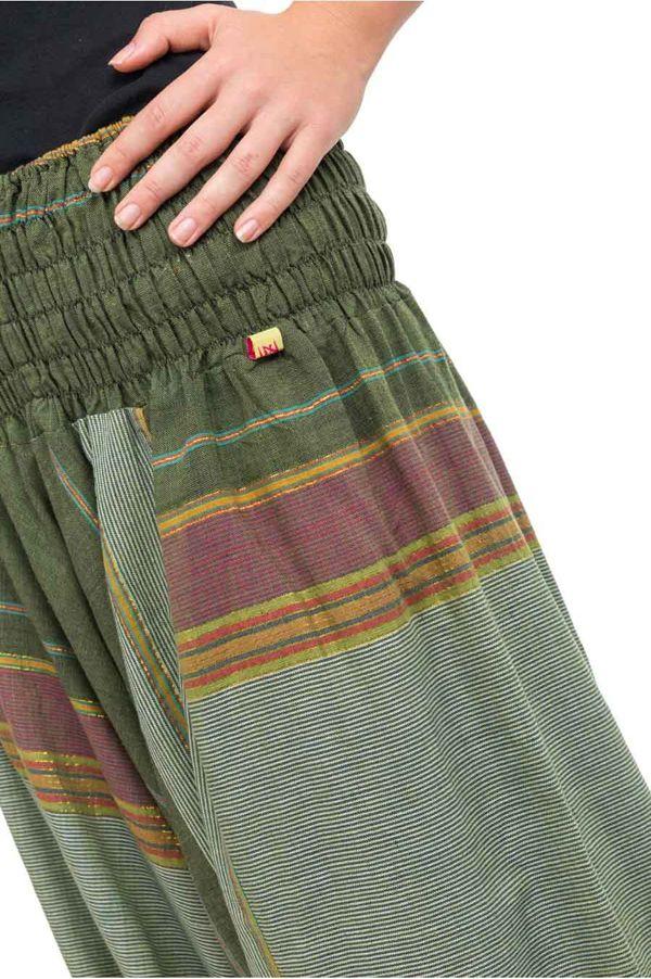 Pantalon sarouel tendance ethnique coloré brillant vert Aladiib 302969