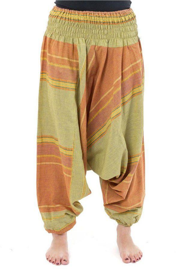 Pantalon sarouel tendance ethnique coloré brillant vert et orange Aladiib 302941