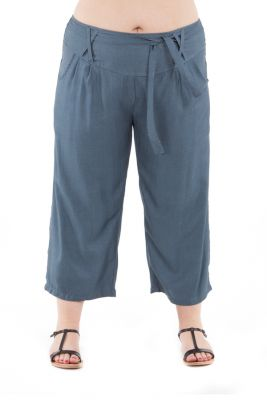 Pantalon size + agréable coupe 3/4 et smocké gris Sully 295629