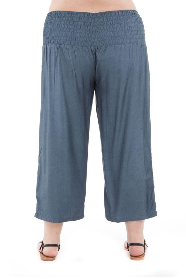 Pantalon size + agréable coupe 3/4 et smocké gris Sully 295630
