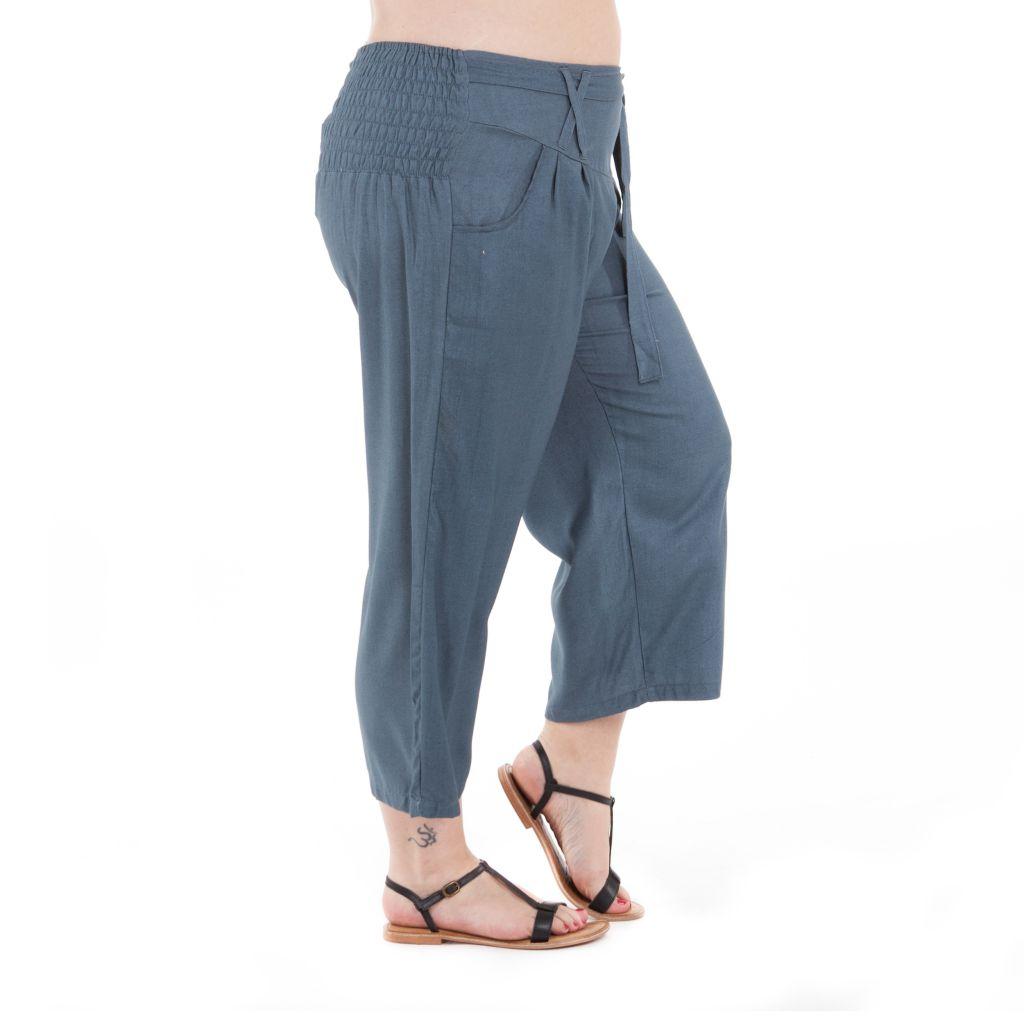 Pantalon size + agréable coupe 3/4 et smocké gris Sully 295631