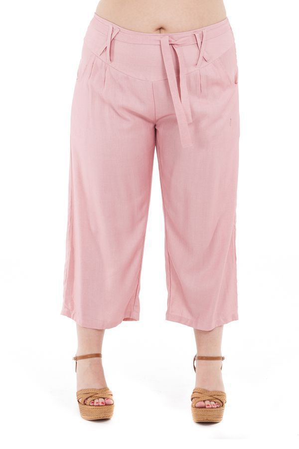 Pantalon size + coupe 3/4 et smocké rose Sully 295623