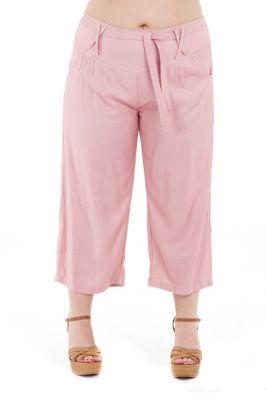 Pantalon size + coupe 3/4 et smocké rose Sully 295623