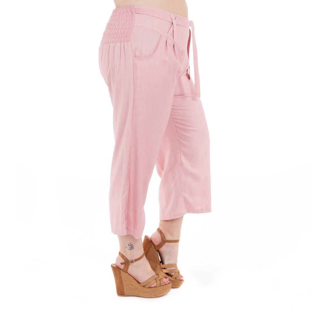 Pantalon size + coupe 3/4 et smocké rose Sully 295624