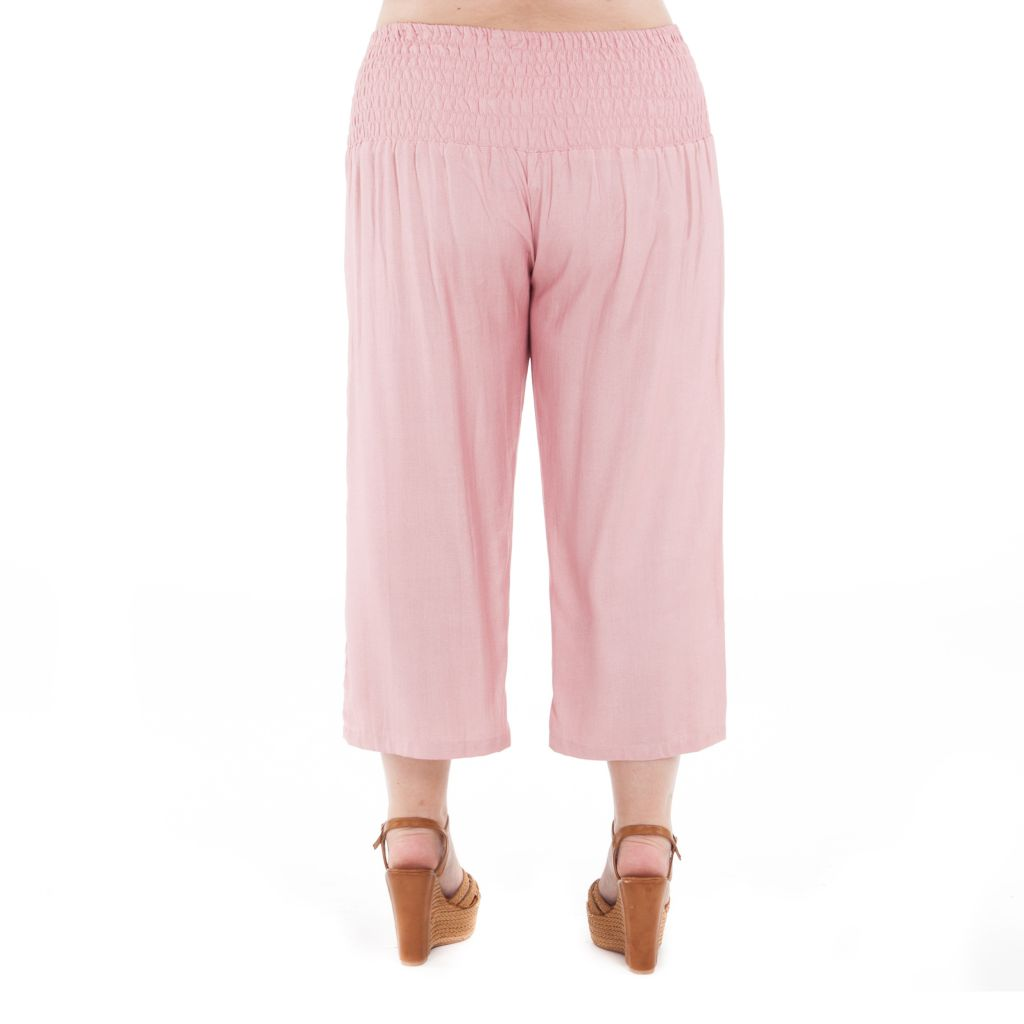 Pantalon size + coupe 3/4 et smocké rose Sully 295625