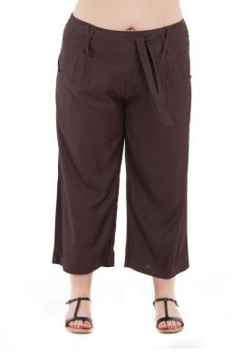 Pantalon size + fluide coupe 3/4 et smocké marron Sully 295635
