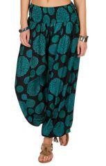 Pantalon style seventies avec imprimés bleus Adaline 294934