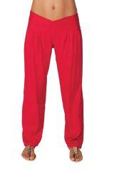 Pantalon taille basse pour femme Ethnique et Original Giulio Rose Foncé 282292