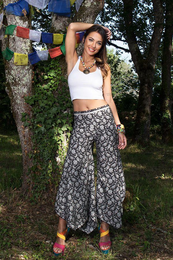 Pantalon tendance coupe asymétrique avec imprimés ethniques Britani 289653